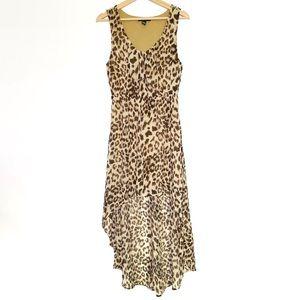 Sleeveless High Low Leopard Dress